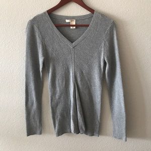 DKNY cotton blend ribbed gray long sleeve top